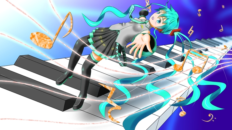 Miku with music