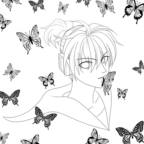 Piaproピアプロイラスト右肩の蝶塗り絵