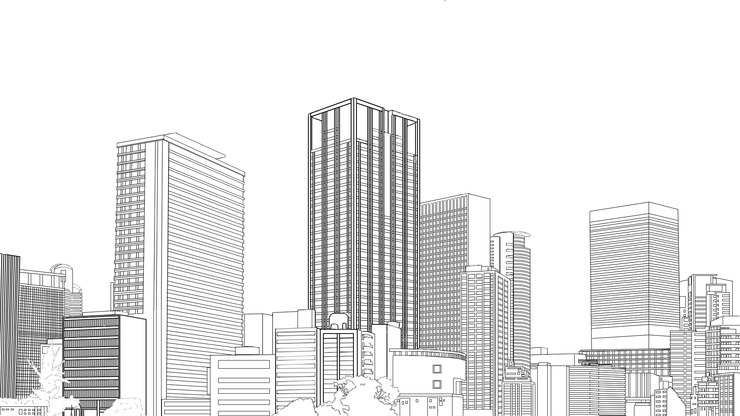Piaproピアプロイラスト背景 ビル群 線画