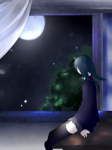 Piaproピアプロイラスト夜の窓際