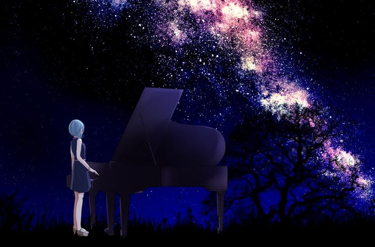 Piaproピアプロイラスト夏の夜空流星群